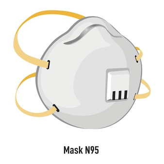 フェイシャルマスクn95、フィルターとストラップ付きのオブジェクトの孤立したアイコンによるセキュリティと安全性。パンデミックおよびコロナウイルスの発生時の医療とケア。保護対策、フラットスタイルのベクトル