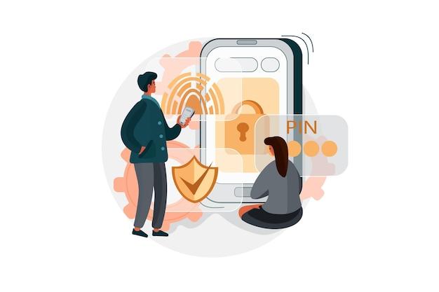 Приложение безопасности с отпечатком пальца или иллюстрацией кода доступа