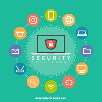 Security background with colored circles and flat elements