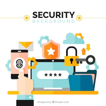 Security background with colored elements in flat design