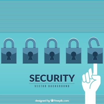 Security background with padlocks in flat design
