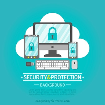 Security background with variety of devices