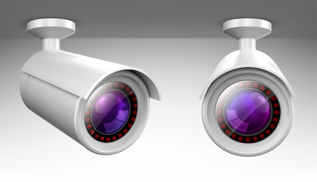 Security cam, cctv video camera, street observe surveillance equipment front and side angle view.