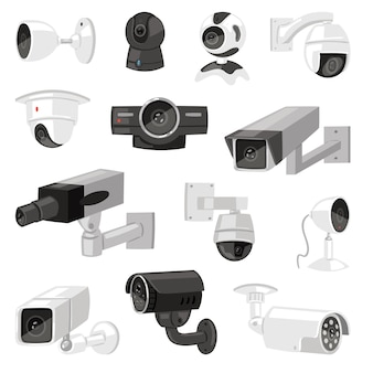 Security camera  cctv control safety video protection technology system illustration set of privacy secure guard equipment webcam device isolated on white background
