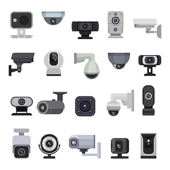 Security camera   cctv control safety video protection technology system illustration set of privacy secure guard equipment webcam digital device isolated