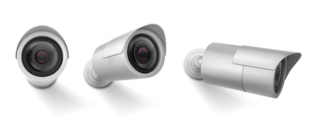Security camera in different views. vector realistic set of cctv cam, watching system, video control of safety.