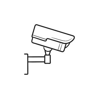 セキュリティカメラの手描きのアウトライン落書きアイコン。 cctvカメラ、ビデオ録画デバイス、ビデオ監視の概念。白い背景の上の印刷、ウェブ、モバイル、インフォグラフィックのベクトルスケッチイラスト。