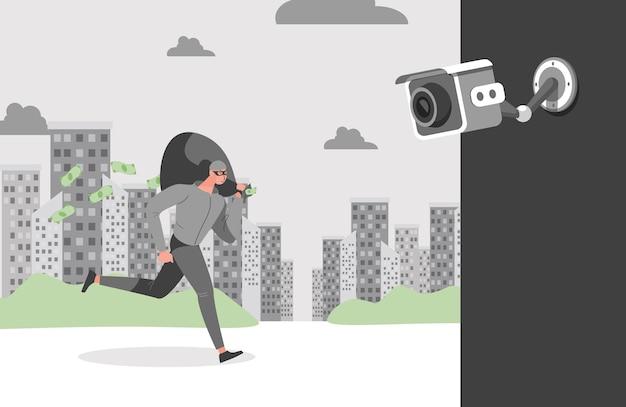 戦利品で逃げる泥棒を撮影するセキュリティシティカメラ