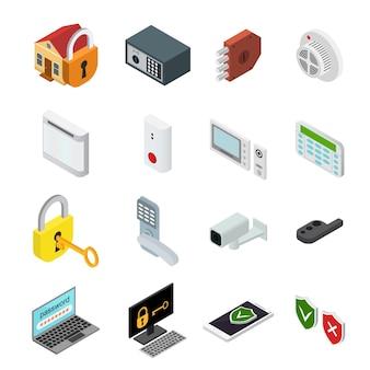 Набор иконок безопасности цвета изометрической проекции службы защиты для офиса и дома.