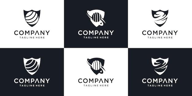 Security company logo ready to use abstract symbol of shield