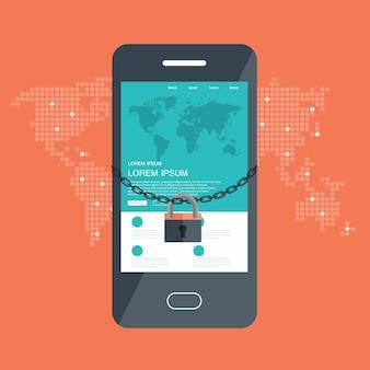 Концепция безопасности с блокировкой и цепочкой вокруг мобильного телефона