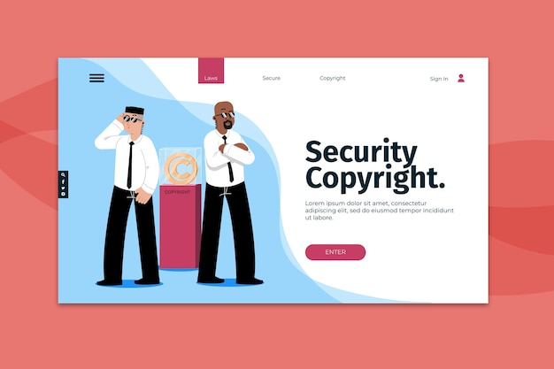Pagina di destinazione del copyright di sicurezza