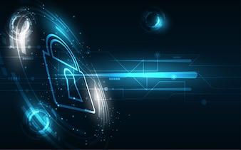 セキュリティサイバーデジタルの概念抽象的な技術の背景はシステム革新を保護します