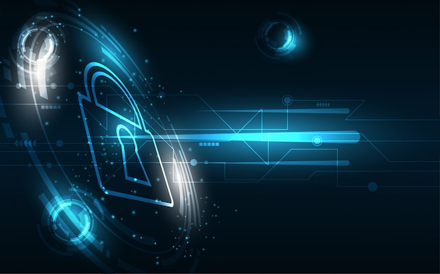 Security cyber digital concept abstract technology background protect system innovation