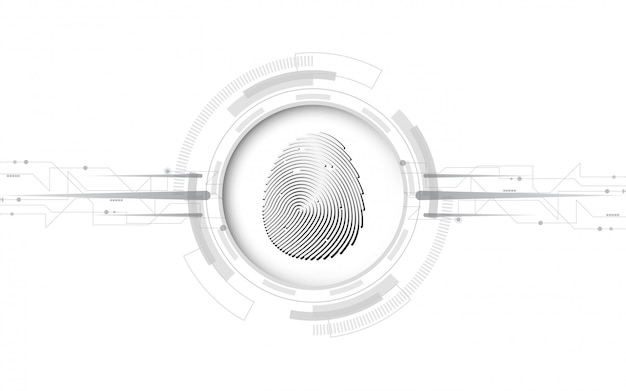 Security cyber digital concept fingerprint scan abstract technology background protect system innovation