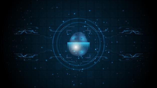 Security cyber digital concept fingerprint scan