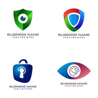 Security cyber logo design and icon