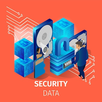 Security data banner. man working in data center