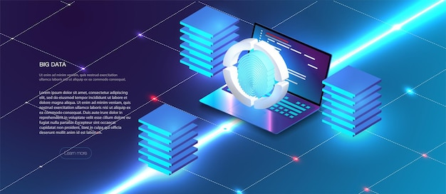 Концепция защиты данных безопасности на синем компьтер-книжке. изометрический цифровой механизм защиты, информационные технологии. цифровой замок. управление данными. кибербезопасность и защита информации или сети.