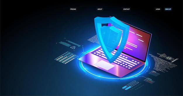 Концепция защиты данных безопасности на синем компьтер-книжке. изометрический цифровой механизм защиты, конфиденциальность системы. цифровой замок. управление данными. кибербезопасность и защита информации или сети.