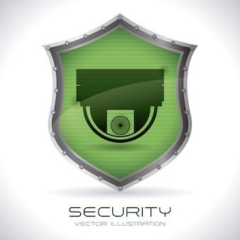 灰色の背景上のセキュリティデザインベクトル図