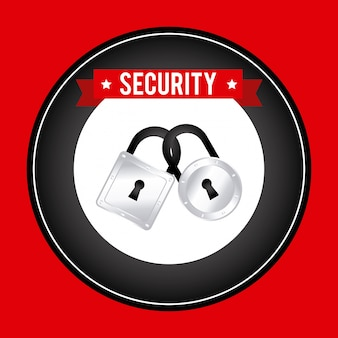 Security design over red background vector illustration