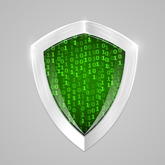 セキュリティデジタルシールド。 webセキュリティまたは暗号通貨のサイン。