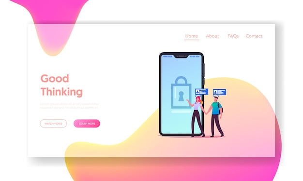 Security, digital technologies for mobile phone landing page template.