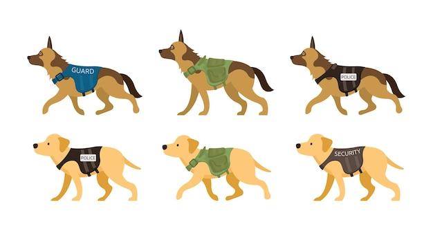 制服を着た警備犬