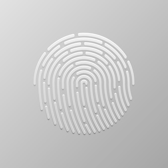 セキュリティ指紋認証。指のアイデンティティ、テクノロジーの生体認証イラスト。指紋テンプレート。