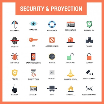 Security flat icons set