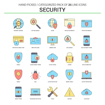 Security flat line icon set