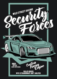 Силы безопасности, иллюстрация классического гоночного автомобиля