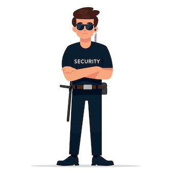 Security guard or body guard on duty