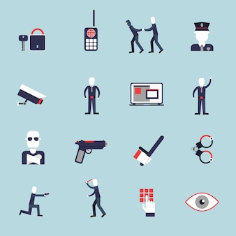 Security guard flat icons set with surveillance camera handcuffs guard isolated vector illustration