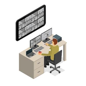 Служба наблюдения охранника изометрическая проекция технология контроля защиты для офиса и дома.