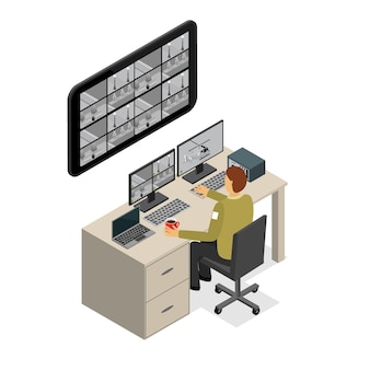 Security guard monitoring service isometric view technology control protection for office and home.