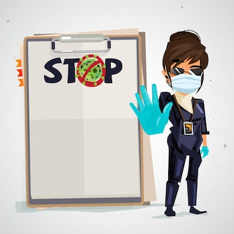 Security guard with stop to virus text on paper