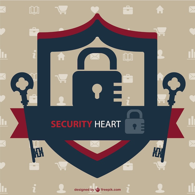 Security heart logo with keys and a lock