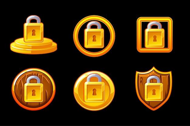 セキュリティアイコン。ロックセキュリティアイコンを設定します。シールドと南京錠のセキュリティアイコン。別のレイヤー上のオブジェクト。