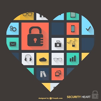 Security icons heart design Free Vector