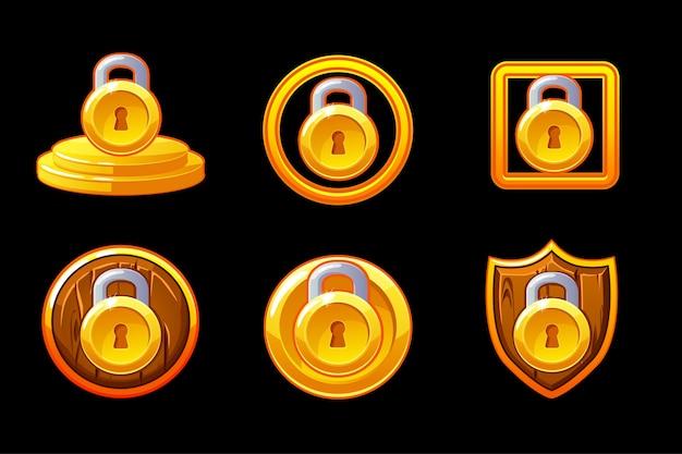 Иллюстрация безопасности. установите значок вектора блокировки безопасности. значок безопасности щит и замок