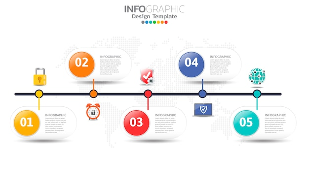 Безопасность инфографики с иконками и 5 вариантов