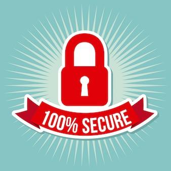 Security label over vintage background vector illustration
