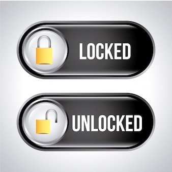 Security labels over gray background vector illustration