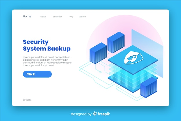 Security landing page isometric style