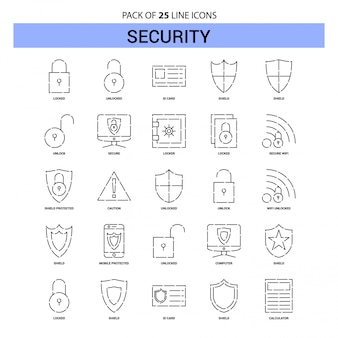Security line icon set - 25 dashed outline style
