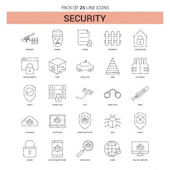 Набор значков линии безопасности - 25 пунктирных линий