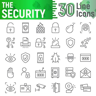 Security line icon set, protection symbols collection