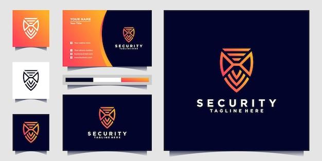 Security logo design with shield modern line art shape and business card design premium vekto